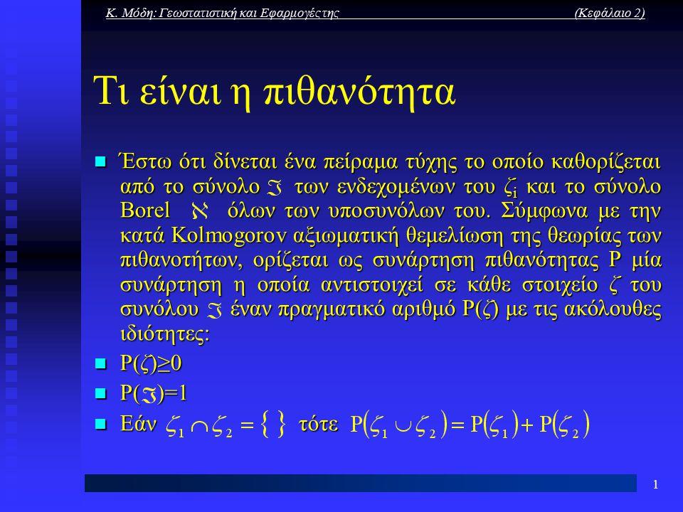Κ. Μόδη: Γεωστατιστική και Εφαρμογές της (Κεφάλαιο 2) 1 Τι είναι η πιθανότητα Έστω ότι δίνεται ένα πείραμα τύχης το οποίο καθορίζεται από το σύνολο τω