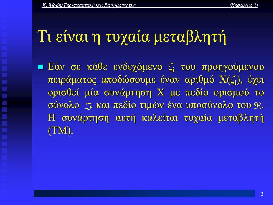 Κ. Μόδη: Γεωστατιστική και Εφαρμογές της (Κεφάλαιο 2) 2 Τι είναι η τυχαία μεταβλητή Εάν σε κάθε ενδεχόμενο ζ i του προηγούμενου πειράματος αποδώσουμε