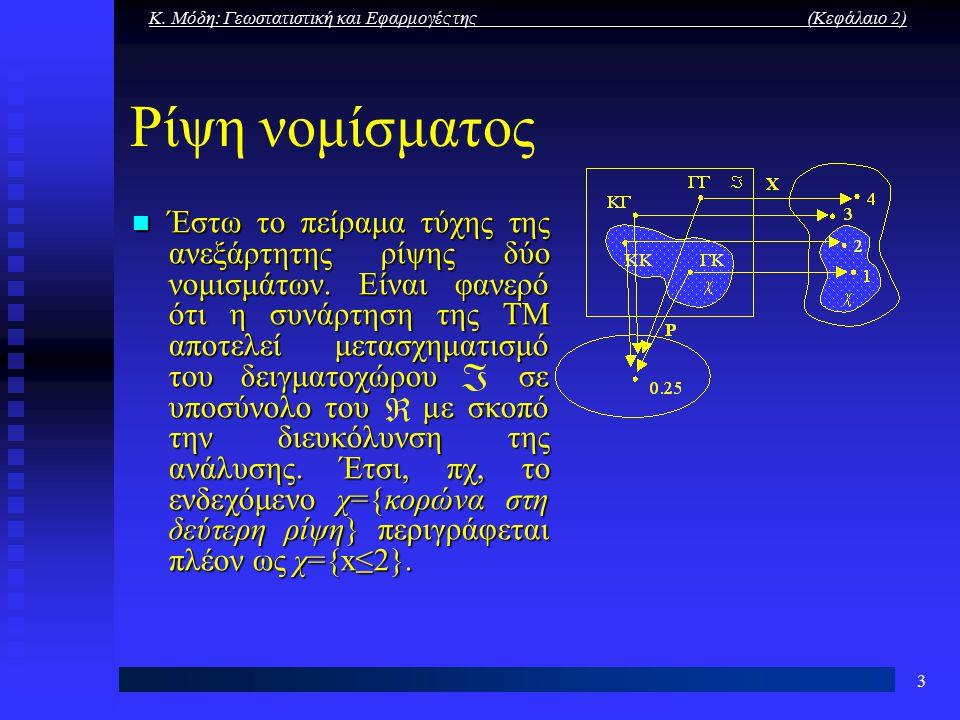 Κ. Μόδη: Γεωστατιστική και Εφαρμογές της (Κεφάλαιο 2) 3 Ρίψη νομίσματος Έστω το πείραμα τύχης της ανεξάρτητης ρίψης δύο νομισμάτων. Είναι φανερό ότι η