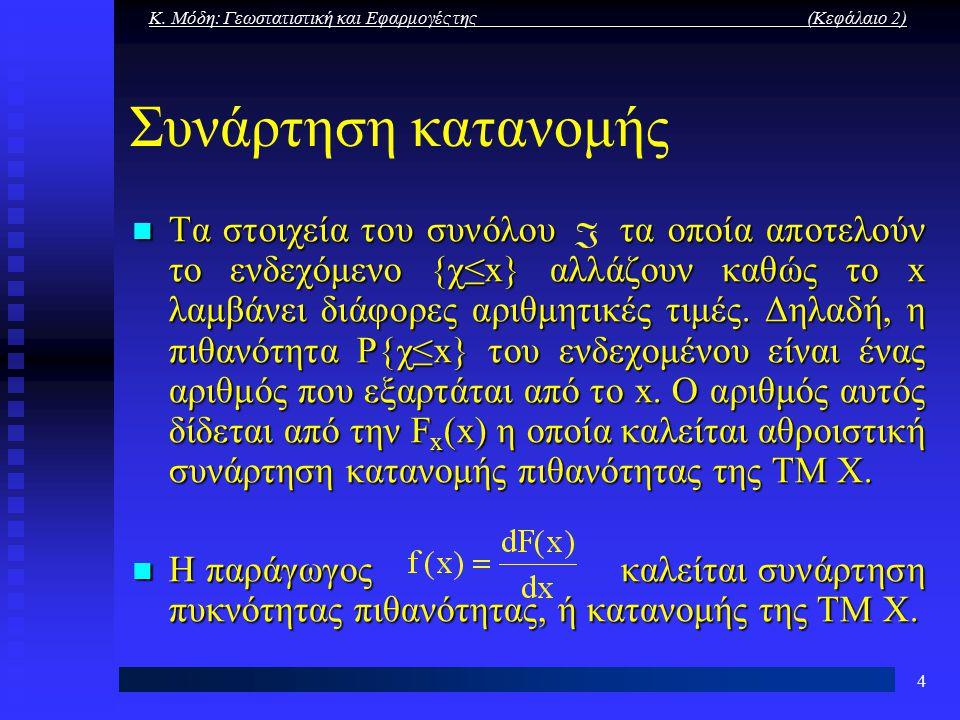 Κ. Μόδη: Γεωστατιστική και Εφαρμογές της (Κεφάλαιο 2) 4 Συνάρτηση κατανομής Tα στοιχεία του συνόλου τα οποία αποτελούν το ενδεχόμενο {χ≤x} αλλάζουν κα