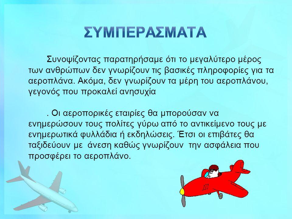 Συνοψίζοντας παρατηρήσαμε ότι το μεγαλύτερο μέρος των ανθρώπων δεν γνωρίζουν τις βασικές πληροφορίες για τα αεροπλάνα. Ακόμα, δεν γνωρίζουν τα μέρη το