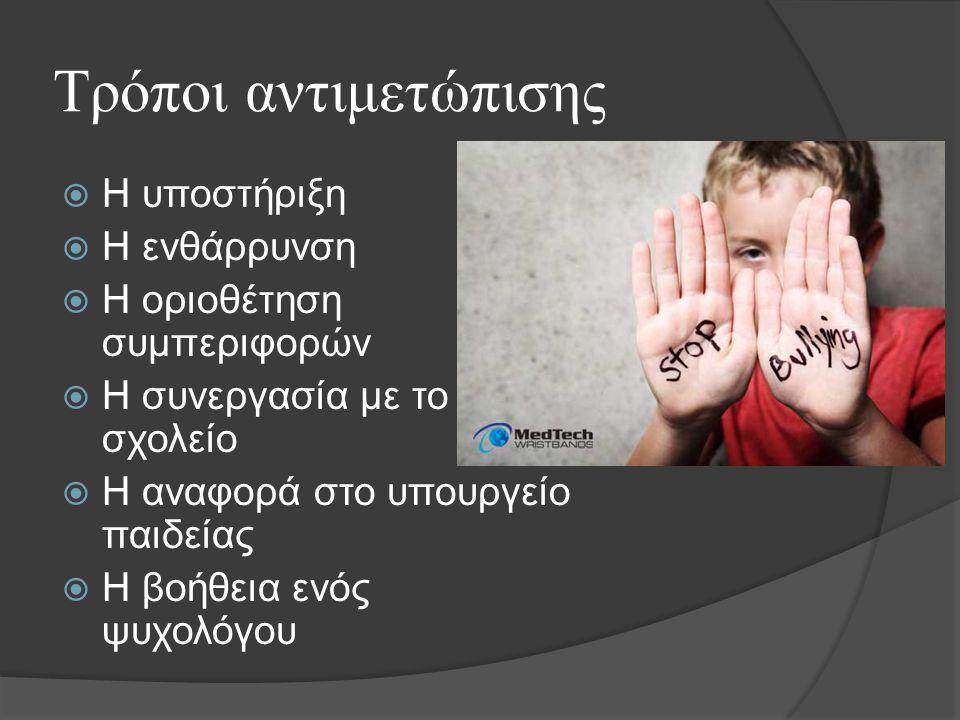 Τρόποι αντιμετώπισης  Η υποστήριξη  Η ενθάρρυνση  Η οριοθέτηση συμπεριφορών  Η συνεργασία με το σχολείο  Η αναφορά στο υπουργείο παιδείας  Η βοήθεια ενός ψυχολόγου