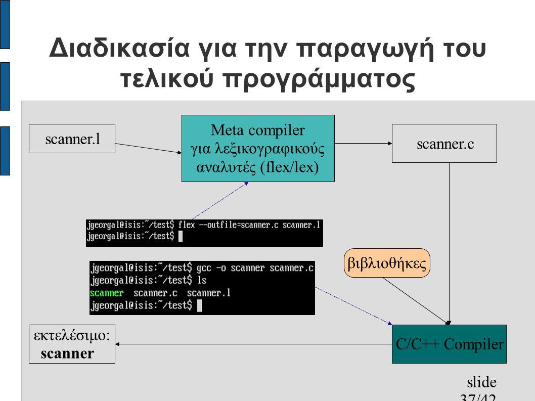 slide 37/42 Διαδικασία για την παραγωγή του τελικού προγράμματος scanner.l Meta compiler για λεξικογραφικούς αναλυτές (flex/lex) scanner.c C/C++ Compiler εκτελέσιμο: scanner βιβλιοθήκες