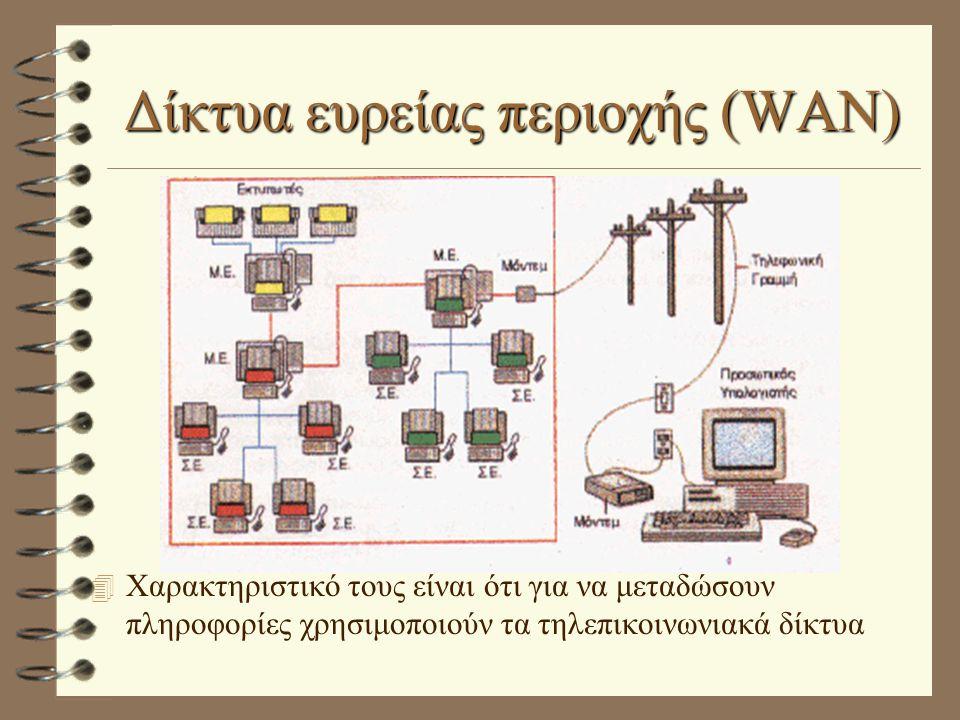 Δίκτυα ευρείας περιοχής (WAN) 4 Χαρακτηριστικό τους είναι ότι για να μεταδώσουν πληροφορίες χρησιμοποιούν τα τηλεπικοινωνιακά δίκτυα
