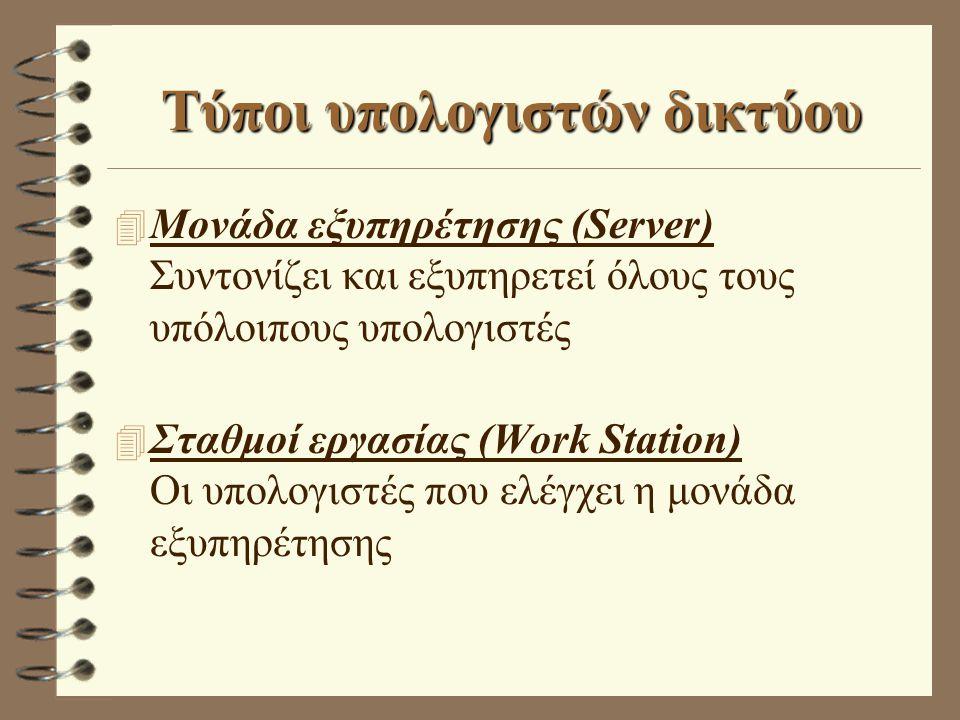Τύποι υπολογιστών δικτύου 4 Μονάδα εξυπηρέτησης (Server) Συντονίζει και εξυπηρετεί όλους τους υπόλοιπους υπολογιστές 4 Σταθμοί εργασίας (Work Station)