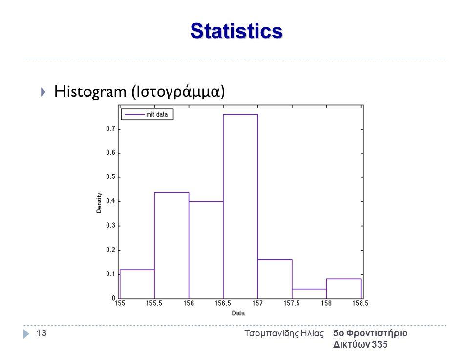 Statistics 5ο Φροντιστήριο Δικτύων 335 Τσομπανίδης Ηλίας13  Histogram ( Ιστογράμμα )