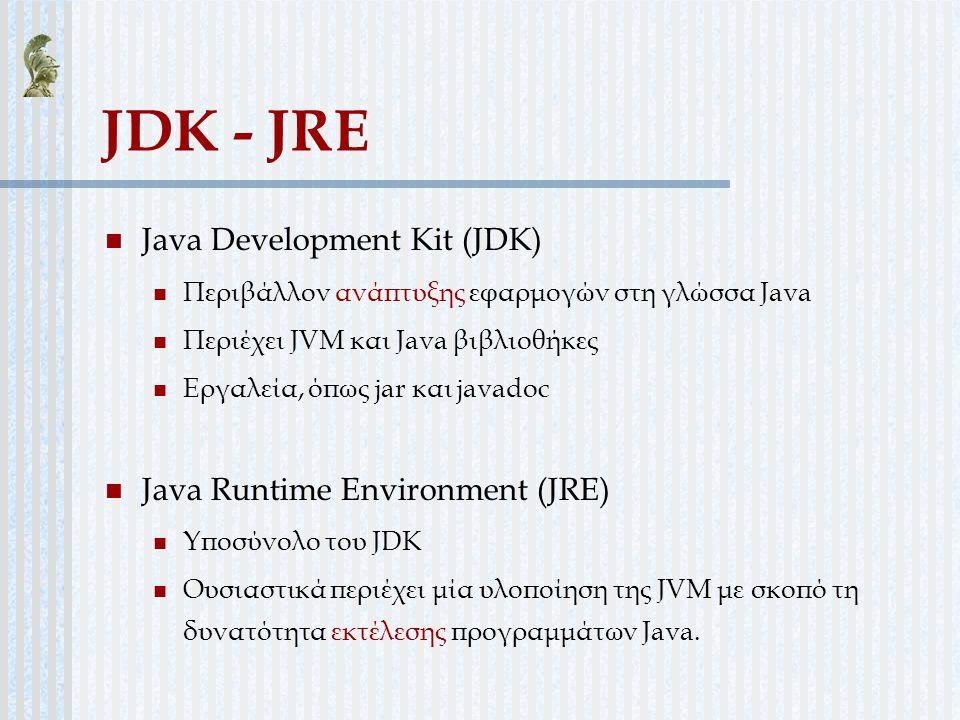 JDK - JRE Java Development Kit (JDK) Περιβάλλον ανάπτυξης εφαρμογών στη γλώσσα Java Περιέχει JVM και Java βιβλιοθήκες Εργαλεία, όπως jar και javadoc J