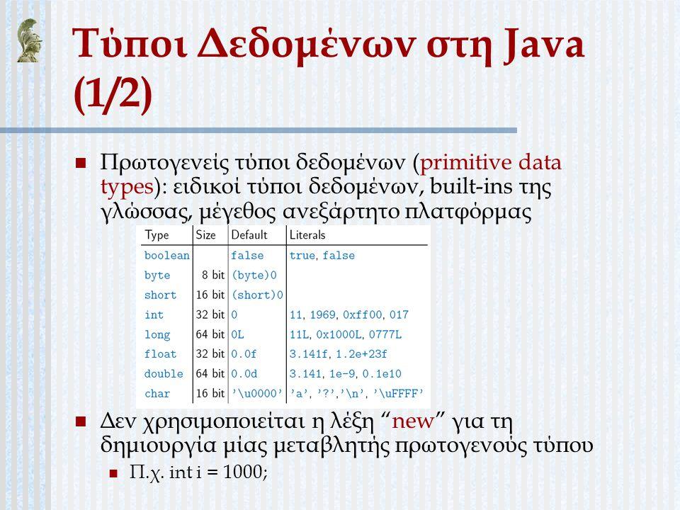 Τύποι Δεδομένων στη Java (1/2) Πρωτογενείς τύποι δεδομένων (primitive data types): ειδικοί τύποι δεδομένων, built-ins της γλώσσας, μέγεθος ανεξάρτητο