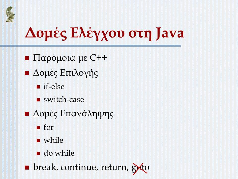 Δομές Ελέγχου στη Java Παρόμοια με C++ Δομές Επιλογής if-else switch-case Δομές Επανάληψης for while do while break, continue, return, goto