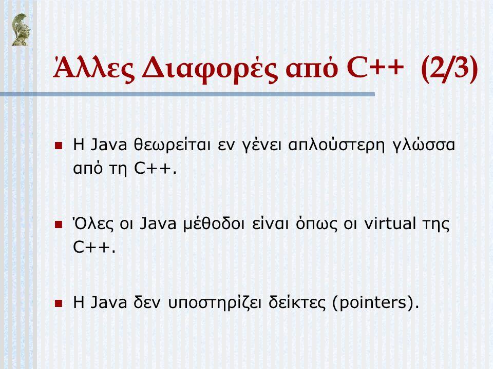Άλλες Διαφορές από C++ (2/3) Η Java θεωρείται εν γένει απλούστερη γλώσσα από τη C++. Όλες οι Java μέθοδοι είναι όπως οι virtual της C++. Η Java δεν υπ