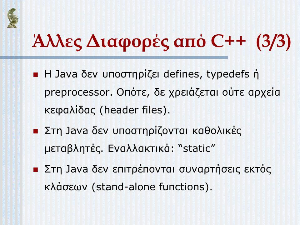 Άλλες Διαφορές από C++ (3/3) Η Java δεν υποστηρίζει defines, typedefs ή preprocessor. Οπότε, δε χρειάζεται ούτε αρχεία κεφαλίδας (header files). Στη J