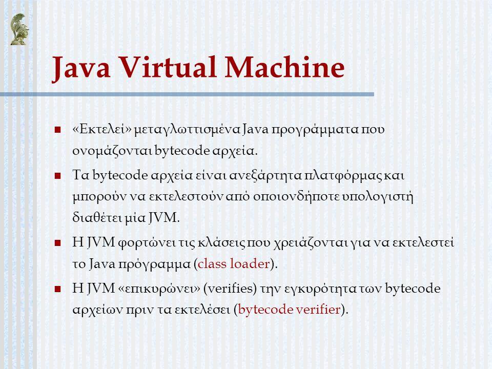 Java Virtual Machine «Εκτελεί» μεταγλωττισμένα Java προγράμματα που ονομάζονται bytecode αρχεία. Τα bytecode αρχεία είναι ανεξάρτητα πλατφόρμας και μπ