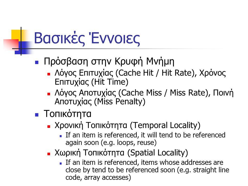 Βασικές Έννοιες Πρόσβαση στην Κρυφή Μνήμη Λόγος Επιτυχίας (Cache Hit / Hit Rate), Χρόνος Επιτυχίας (Hit Time) Λόγος Αποτυχίας (Cache Miss / Miss Rate), Ποινή Αποτυχίας (Miss Penalty) Τοπικότητα Χρονική Τοπικότητα (Temporal Locality) If an item is referenced, it will tend to be referenced again soon (e.g.