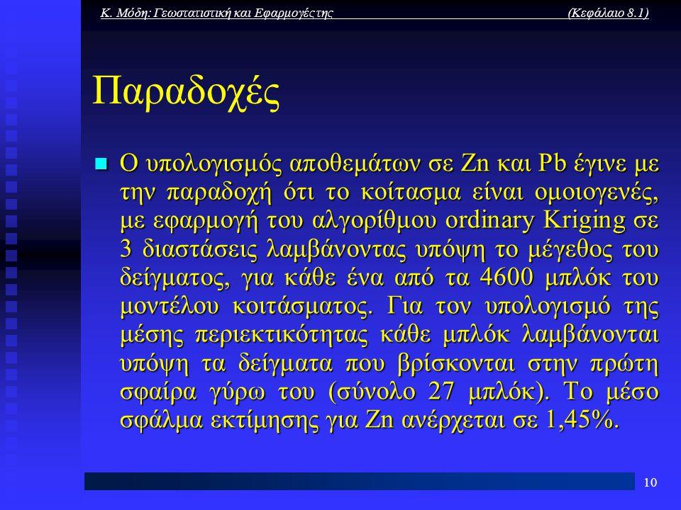 Κ. Μόδη: Γεωστατιστική και Εφαρμογές της (Κεφάλαιο 8.1) 10 Παραδοχές Ο υπολογισμός αποθεμάτων σε Zn και Pb έγινε με την παραδοχή ότι το κοίτασμα είναι