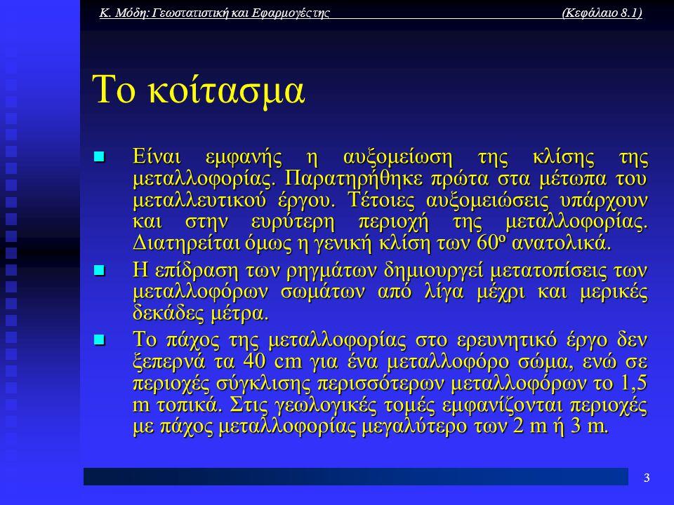 Κ. Μόδη: Γεωστατιστική και Εφαρμογές της (Κεφάλαιο 8.1) 3 Το κοίτασμα Είναι εμφανής η αυξομείωση της κλίσης της μεταλλοφορίας. Παρατηρήθηκε πρώτα στα