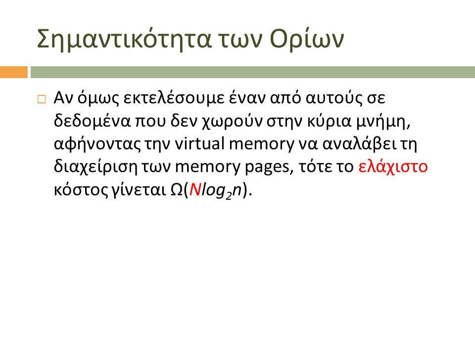 Σημαντικότητα των Ορίων  Αν όμως εκτελέσουμε έναν από αυτούς σε δεδομένα που δεν χωρούν στην κύρια μνήμη, αφήνοντας την virtual memory να αναλάβει τη διαχείριση των memory pages, τότε το ελάχιστο κόστος γίνεται Ω(Nlog 2 n).