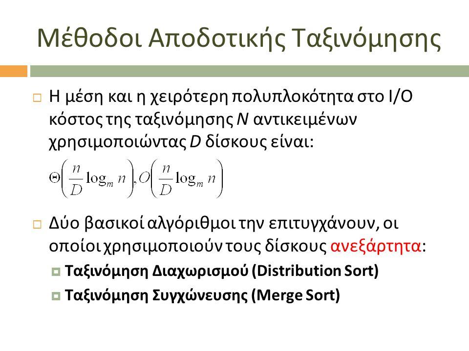 Μέθοδοι Αποδοτικής Ταξινόμησης  Η μέση και η χειρότερη πολυπλοκότητα στο I/O κόστος της ταξινόμησης N αντικειμένων χρησιμοποιώντας D δίσκους είναι:  Δύο βασικοί αλγόριθμοι την επιτυγχάνουν, οι οποίοι χρησιμοποιούν τους δίσκους ανεξάρτητα:  Ταξινόμηση Διαχωρισμού (Distribution Sort)  Ταξινόμηση Συγχώνευσης (Merge Sort)