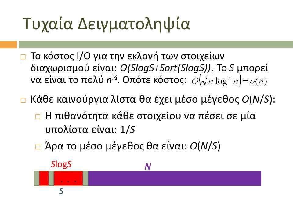 Τυχαία Δειγματοληψία  Το κόστος Ι/Ο για την εκλογή των στοιχείων διαχωρισμού είναι: Ο(SlogS+Sort(SlogS)).