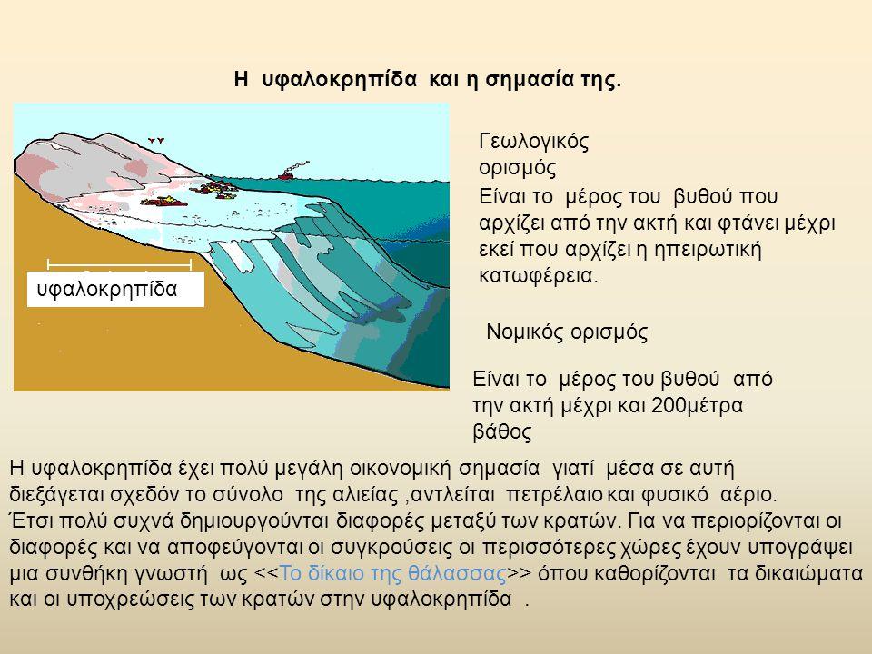 Η υφαλοκρηπίδα και η σημασία της. Είναι το μέρος του βυθού που αρχίζει από την ακτή και φτάνει μέχρι εκεί που αρχίζει η ηπειρωτική κατωφέρεια. Γεωλογι