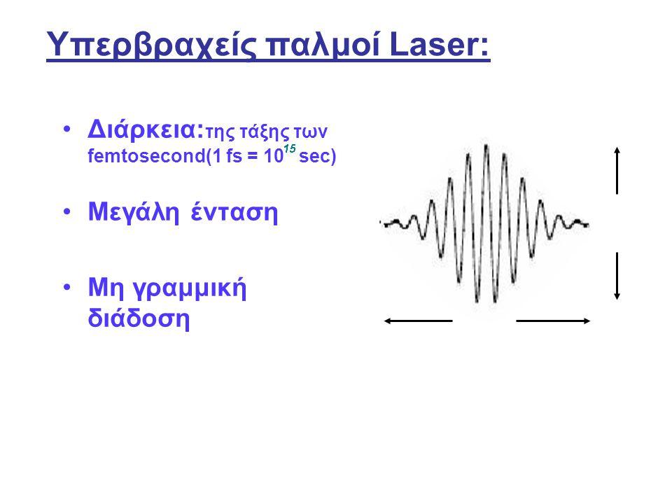 Υπερβραχείς παλμοί Laser: Διάρκεια: της τάξης των femtosecond(1 fs = 10 sec) Μεγάλη ένταση Μη γραμμική διάδοση