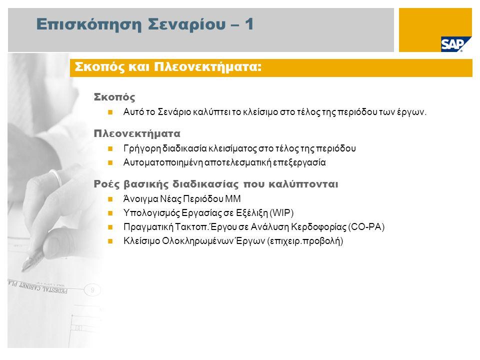 Επισκόπηση Σεναρίου – 2 Απαιτείται Το πακέτο βελτίωσης 4 του SAP για SAP ERP 6.0 Ρόλοι εταιρίας στις ροές διαδικασίας Λογιστής Λογ/μών Πληρωτέων Υπάλληλος Αποθήκης Οικονομικός Δ/ντής Ελεγκτής Κόστους Προϊόντος Διευθυντής Έργου Ελεγκτής Επιχείρησης Εφαρμογές SAP που Απαιτούνται: