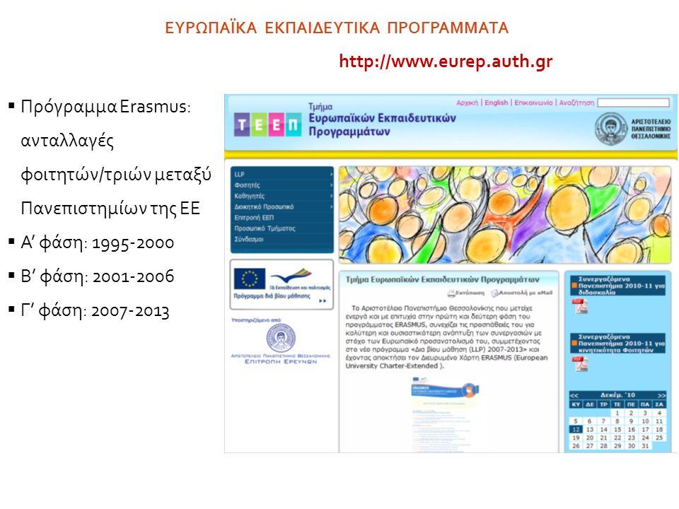 Το τμήμα Οικονομικών Επιστημών  μετέχει ενεργά στο Πρόγραμμα ERASMUS από την πρώτη φάση  συνεργάζεται με 33 Πανεπιστήμια της ΕE  Κατά το ακαδημαϊκό έτος 2011-2012 διακινήθηκαν  30 φοιτητές/τριες από το Τμήμα προς την ΕΕ  12 φοιτητές από την ΕΕ προς το Τμήμα ΕΥΡΩΠΑΪΚΑ ΕΚΠΑΙΔΕΥΤΙΚΑ ΠΡΟΓΡΑΜΜΑΤΑ - ERASMUS