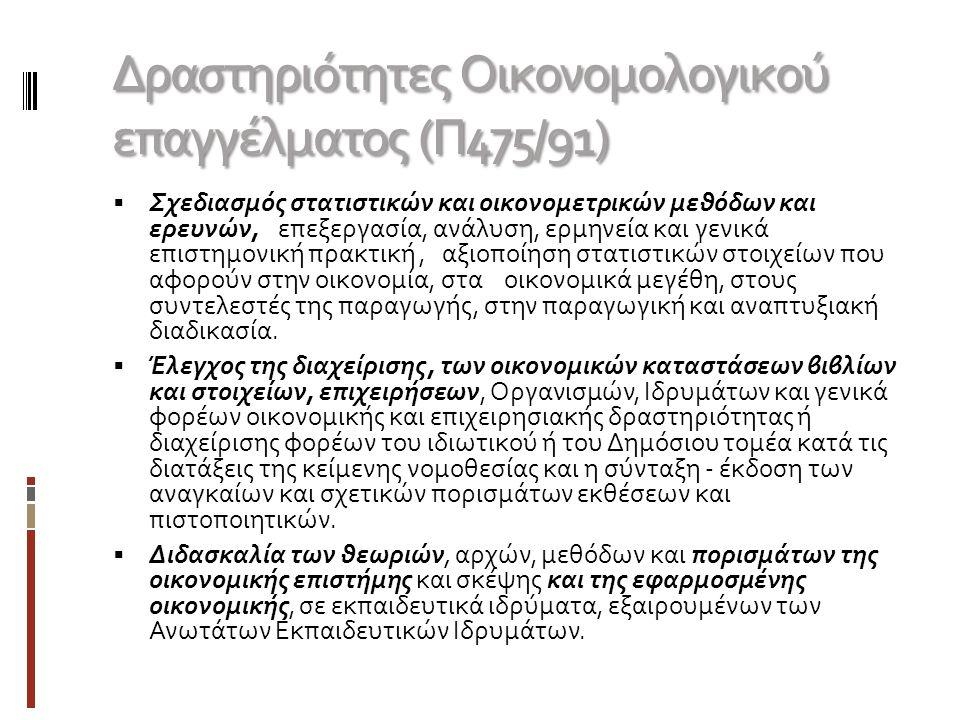 Ενδεικτικά Επαγγέλματα  Στέλεχος/υπάλληλος παραγωγικής ή εμπορικής επιχείρησης  Ιδιώτης Λογιστής – Προϊστάμενος Λογιστηρίου – Ορκωτός Λογιστής - Φοροτεχνικός  Οικονομολόγος του Δημοσίου  Διαχειριστής Αμοιβαίων Κεφαλαίων – Χαρτοφυλακίου  Οικονομικός Αναλυτής  Οικονομικός Διευθυντής  Σύμβουλος επιχειρήσεων  Οικονομολόγος μελετητής - Στέλεχος εταιρίας μελετών  Στέλεχος Μάρκετινγκ – Διαφήμισης  Εφοριακός - Οικονομικός Ελεγκτής  Πωλήσεις  Υπουργεία, Τοπική Αυτοδιοίκηση  Οικονομολόγος Εκπαιδευτικός Δευτεροβάθμιας – Τριτοβάθμιας Εκπαίδευσης  Τραπεζικός υπάλληλος - στέλεχος