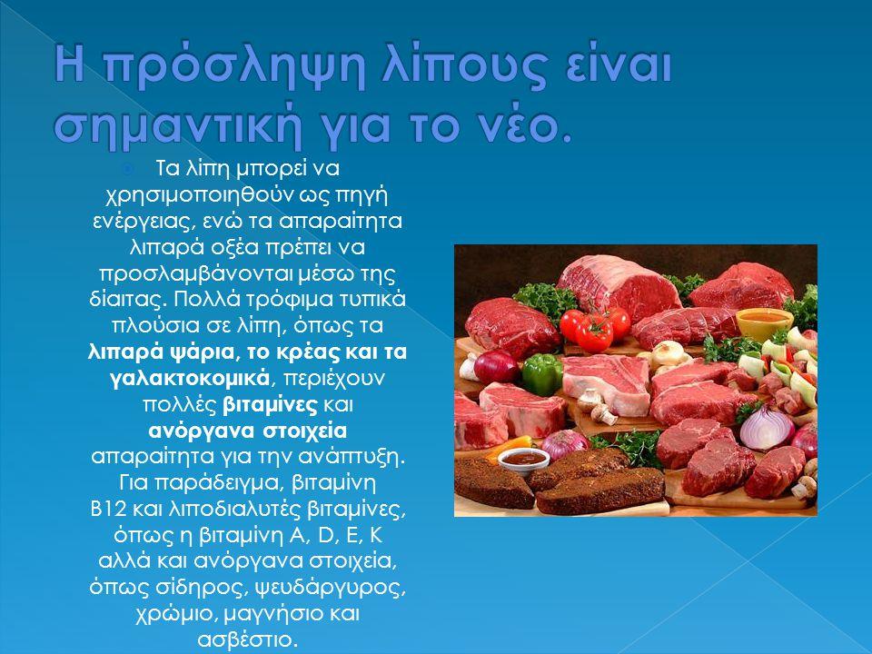  Τα λίπη μπορεί να χρησιμοποιηθούν ως πηγή ενέργειας, ενώ τα απαραίτητα λιπαρά οξέα πρέπει να προσλαμβάνονται μέσω της δίαιτας. Πολλά τρόφιμα τυπικά