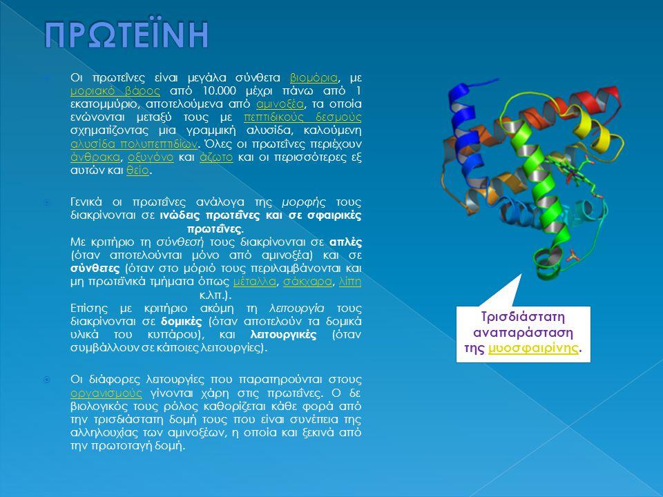  Οι πρωτεΐνες είναι μεγάλα σύνθετα βιομόρια, με μοριακό βάρος από 10.000 μέχρι πάνω από 1 εκατομμύριο, αποτελούμενα από αμινοξέα, τα οποία ενώνονται μεταξύ τους με πεπτιδικούς δεσμούς σχηματίζοντας μια γραμμική αλυσίδα, καλούμενη αλυσίδα πολυπεπτιδίων.