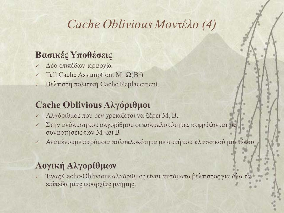 Cache Oblivious Μοντέλο (4) Βασικές Υποθέσεις Δύο επιπέδων ιεραρχία Tall Cache Assumption: M=Ω(Β 2 ) Βέλτιστη πολιτική Cache Replacement Cache Oblivious Αλγόριθμοι Αλγόριθμος που δεν χρειάζεται να ξέρει M, B.
