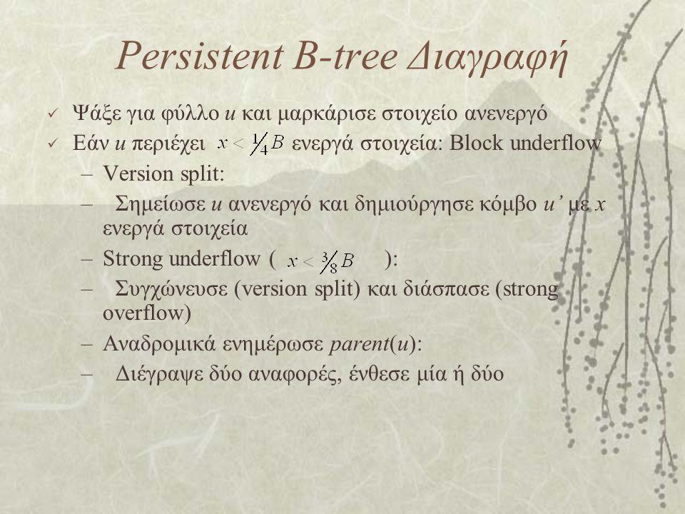 Persistent B-tree Διαγραφή Ψάξε για φύλλο u και μαρκάρισε στοιχείο ανενεργό Εάν u περιέχει ενεργά στοιχεία: Block underflow –Version split: –Σημείωσε u ανενεργό και δημιούργησε κόμβο u' με x ενεργά στοιχεία –Strong underflow ( ): –Συγχώνευσε (version split) και διάσπασε (strong overflow) –Αναδρομικά ενημέρωσε parent(u): –Διέγραψε δύο αναφορές, ένθεσε μία ή δύο