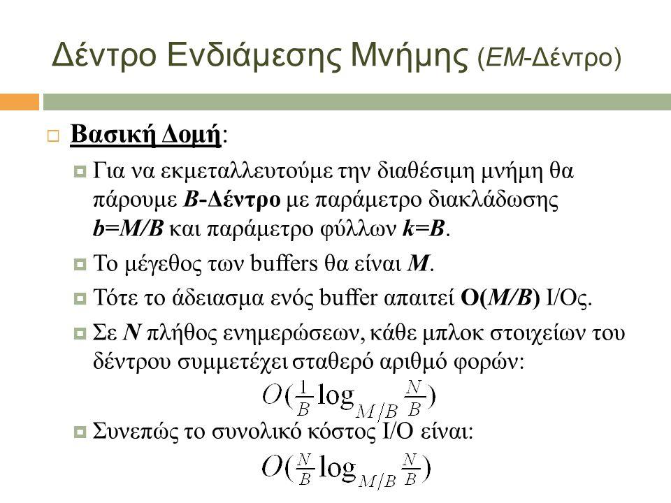 Δέντρο Ενδιάμεσης Μνήμης (ΕΜ-Δέντρο)  Βασική Δομή:  Για να εκμεταλλευτούμε την διαθέσιμη μνήμη θα πάρουμε B-Δέντρο με παράμετρο διακλάδωσης b=Μ/Β και παράμετρο φύλλων k=Β.