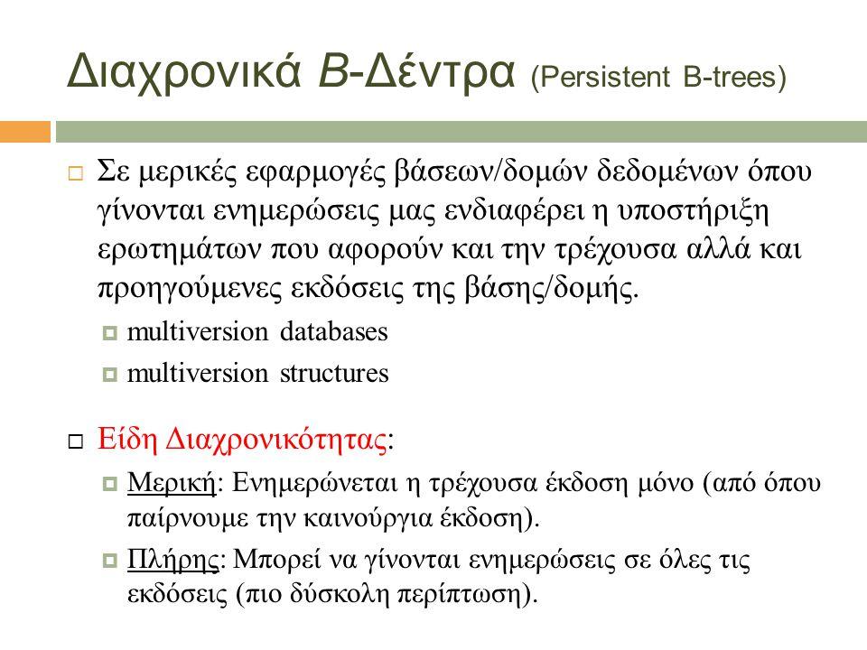 Απόδοση Διαχρονικού Β-Δέντρου  Ενημέρωση: Ο(log B N)  Χώρος: O(N/B)  Έχει I/O κόστος αναζητήσεων: Ο(log B N).