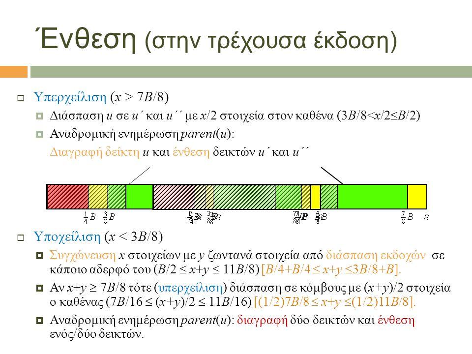 Παρατηρήσεις:  Ένας buffer μπορεί κατά τη διαδικασία αναδρομικών αδειασμάτων να έχει και περισσότερα από Μ στοιχεία προσωρινά (αν κατανεμηθούν από ανώτερα επίπεδα προς το ίδιο παιδί).