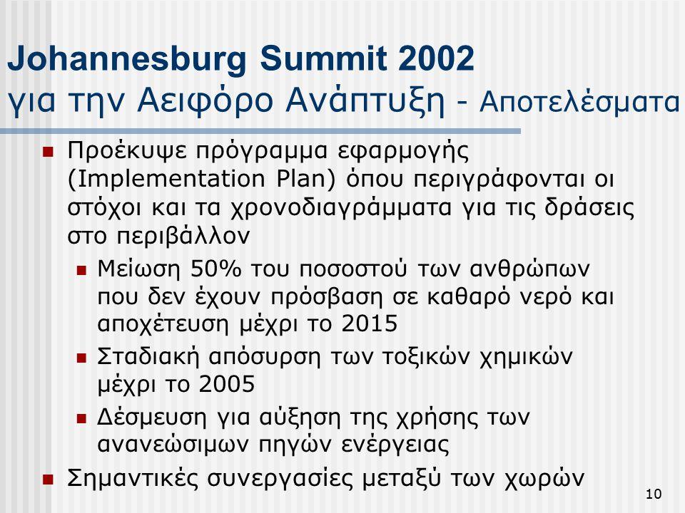 10 Johannesburg Summit 2002 για την Αειφόρο Ανάπτυξη - Αποτελέσματα Προέκυψε πρόγραμμα εφαρμογής (Implementation Plan) όπου περιγράφονται οι στόχοι και τα χρονοδιαγράμματα για τις δράσεις στο περιβάλλον Μείωση 50% του ποσοστού των ανθρώπων που δεν έχουν πρόσβαση σε καθαρό νερό και αποχέτευση μέχρι το 2015 Σταδιακή απόσυρση των τοξικών χημικών μέχρι το 2005 Δέσμευση για αύξηση της χρήσης των ανανεώσιμων πηγών ενέργειας Σημαντικές συνεργασίες μεταξύ των χωρών