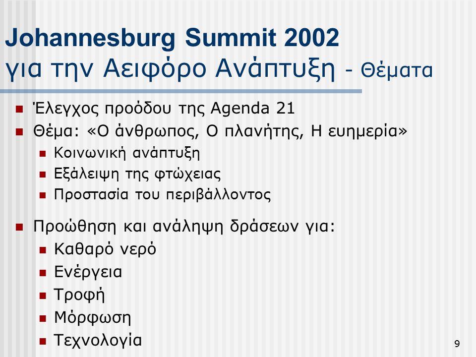 9 Johannesburg Summit 2002 για την Αειφόρο Ανάπτυξη - Θέματα Έλεγχος προόδου της Agenda 21 Θέμα: «Ο άνθρωπος, Ο πλανήτης, Η ευημερία» Κοινωνική ανάπτυξη Εξάλειψη της φτώχειας Προστασία του περιβάλλοντος Προώθηση και ανάληψη δράσεων για: Καθαρό νερό Ενέργεια Τροφή Μόρφωση Τεχνολογία