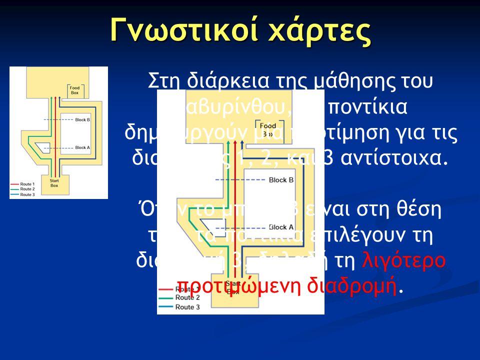 Γνωστικοί χάρτες Στη διάρκεια της μάθησης του λαβυρίνθου, τα ποντίκια δημιουργούν μία προτίμηση για τις διαδρομές 1, 2, και 3 αντίστοιχα.