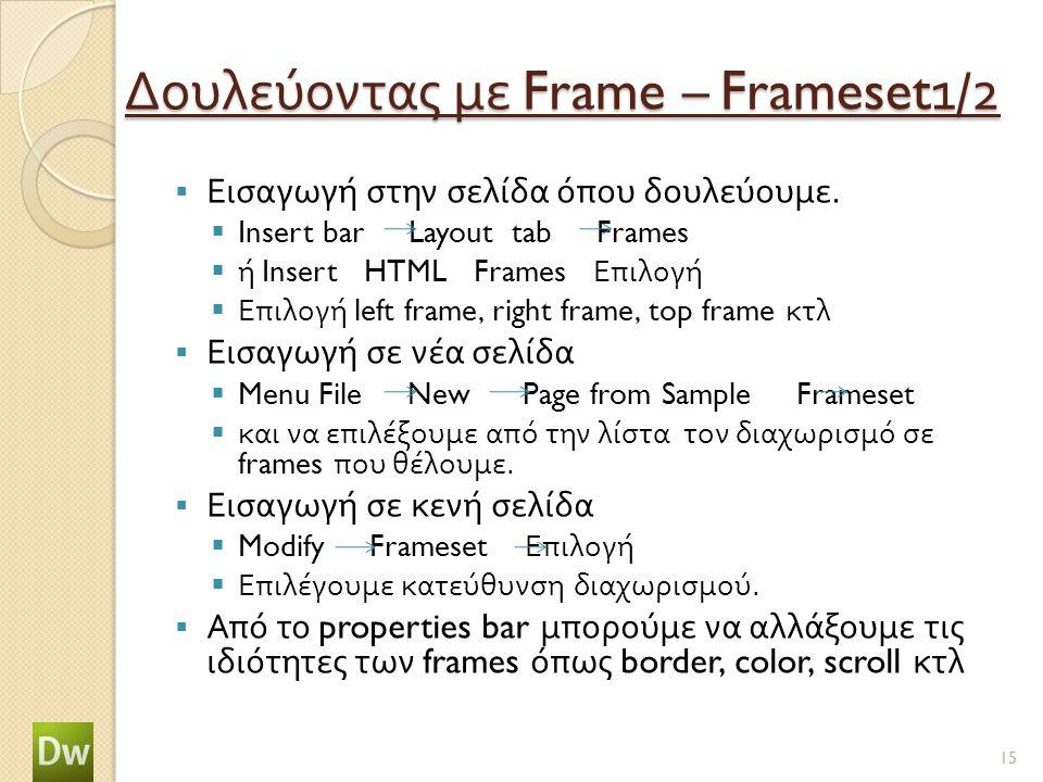 Δουλεύοντας με Frame – Frameset1/2  Εισαγωγή στην σελίδα όπου δουλεύουμε.  Insert bar Layout tab Frames  ή Insert HTML Frames Επιλογή  Επιλογή lef