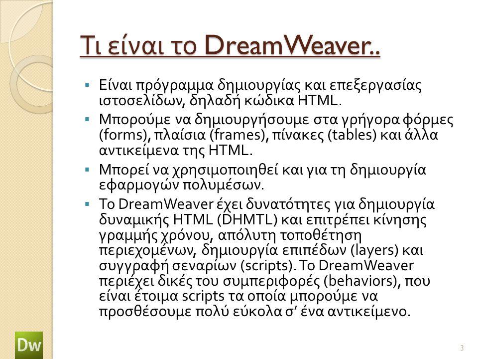 Τι είναι το DreamWeaver..  Είναι πρόγραμμα δημιουργίας και επεξεργασίας ιστοσελίδων, δηλαδή κώδικα HTML.  Μπορούμε να δημιουργήσουμε στα γρήγορα φόρ