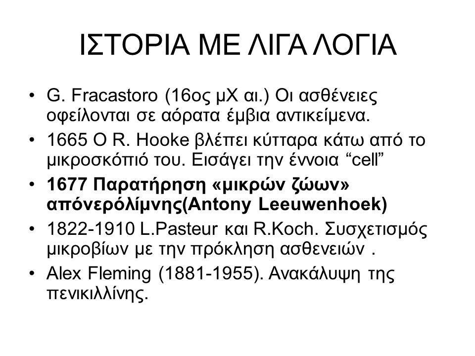 ΙΣΤΟΡΙΑ ΜΕ ΛΙΓΑ ΛΟΓΙΑ G. Fracastoro (16oς μΧ αι.) Οι ασθένειες οφείλονται σε αόρατα έμβια αντικείμενα. 1665 Ο R. Hooke βλέπει κύτταρα κάτω από το μικρ