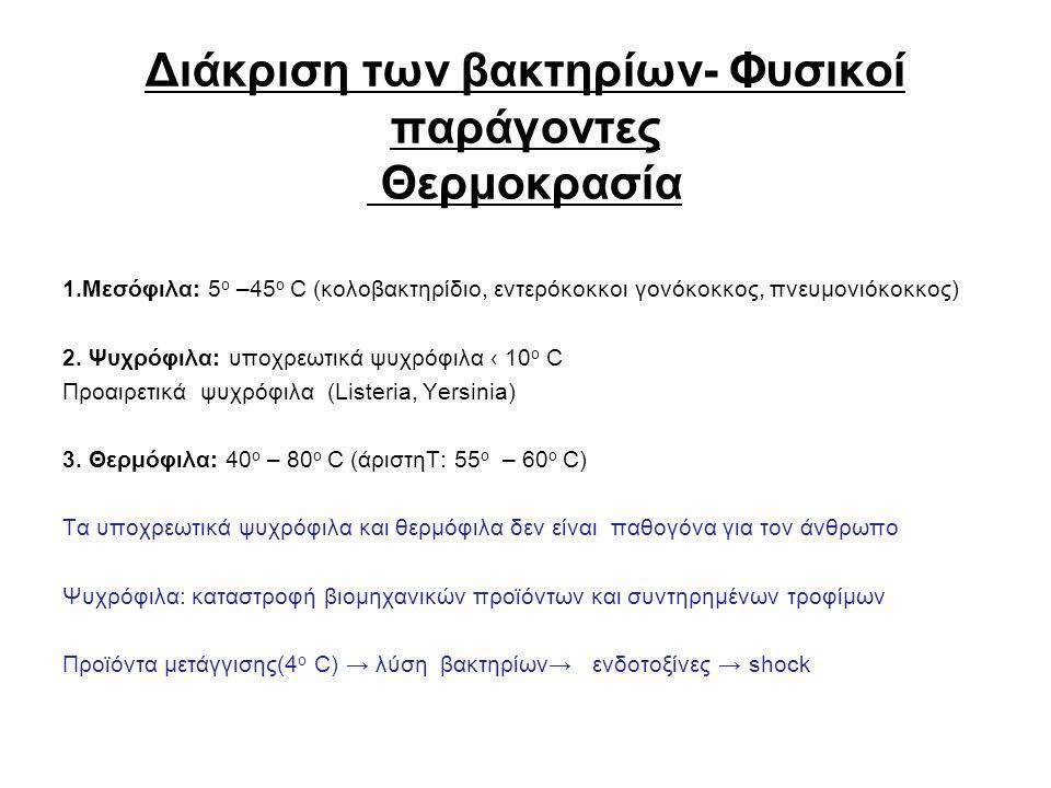 Διάκριση των βακτηρίων- Φυσικοί παράγοντες Θερμοκρασία 1.Μεσόφιλα: 5 ο –45 ο C (κολοβακτηρίδιο, εντερόκοκκοι γονόκοκκος, πνευμονιόκοκκος) 2. Ψυχρόφιλα