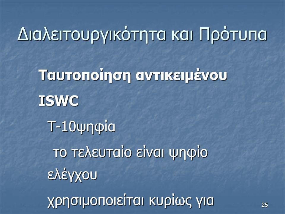 25 Διαλειτουργικότητα και Πρότυπα Ταυτοποίηση αντικειμένου ISWC T-10ψηφία το τελευταίο είναι ψηφίο ελέγχου χρησιμοποιείται κυρίως για μουσική
