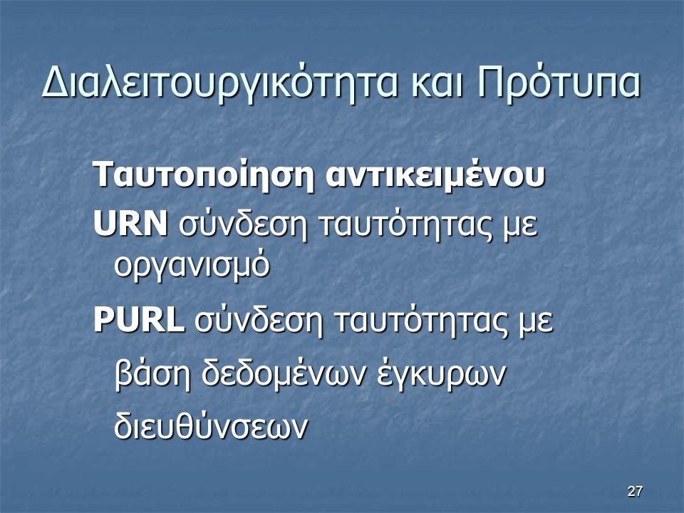 27 Διαλειτουργικότητα και Πρότυπα Ταυτοποίηση αντικειμένου URN σύνδεση ταυτότητας με οργανισμό PURL σύνδεση ταυτότητας με βάση δεδομένων έγκυρων διευθ