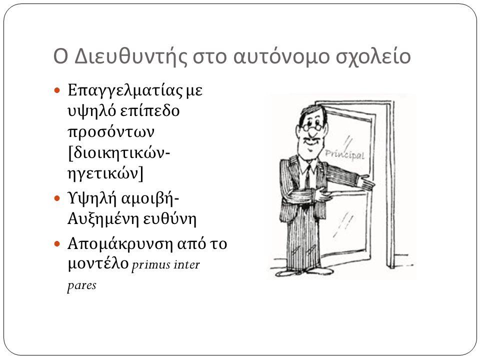 Ο Διευθυντής στο αυτόνομο σχολείο Επαγγελματίας με υψηλό επίπεδο προσόντων [ διοικητικών - ηγετικών ] Υψηλή αμοιβή - Αυξημένη ευθύνη Απομάκρυνση από τ