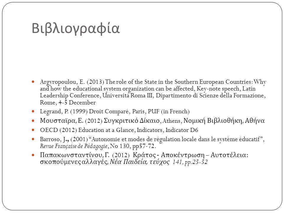 Βιβλιογραφία Argyropoulou, E. (2013) The role of the State in the Southern European Countries: Why and how the educational system organization can be