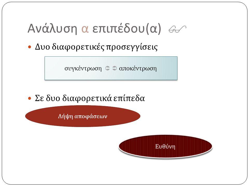 Ανάλυση α επιπέδου ( α )  Δυο διαφορετικές προσεγγίσεις Σε δυο διαφορετικά επίπεδα συγκέντρωση   αποκέντρωση Λήψη α π οφάσεων