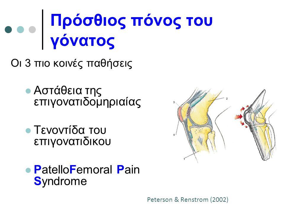 Πρόσθιος πόνος του γόνατος Οι 3 πιο κοινές παθήσεις Αστάθεια της επιγονατιδομηριαίας Τενοντίδα του επιγονατιδικου PatelloFemoral Pain Syndrome Peterso