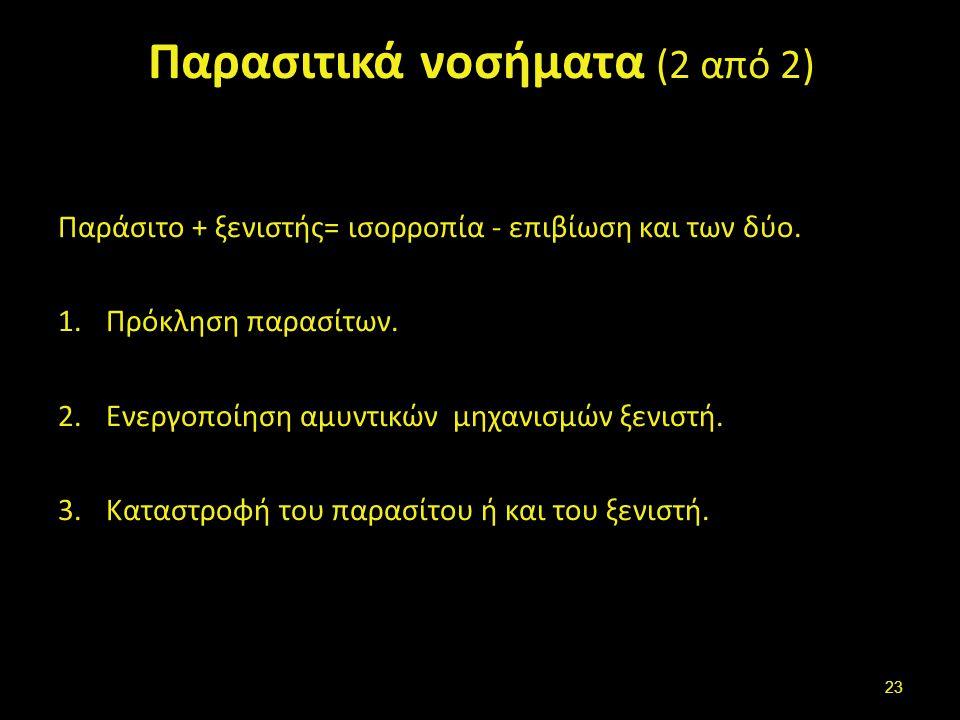 Παρασιτικά νοσήματα (2 από 2) Παράσιτο + ξενιστής= ισορροπία - επιβίωση και των δύο.