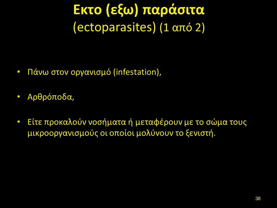 Εκτο (εξω) παράσιτα (ectoparasites) (1 από 2) Πάνω στον οργανισμό (infestation), Αρθρόποδα, Είτε προκαλούν νοσήματα ή μεταφέρουν με το σώμα τους μικροοργανισμούς οι οποίοι μολύνουν το ξενιστή.