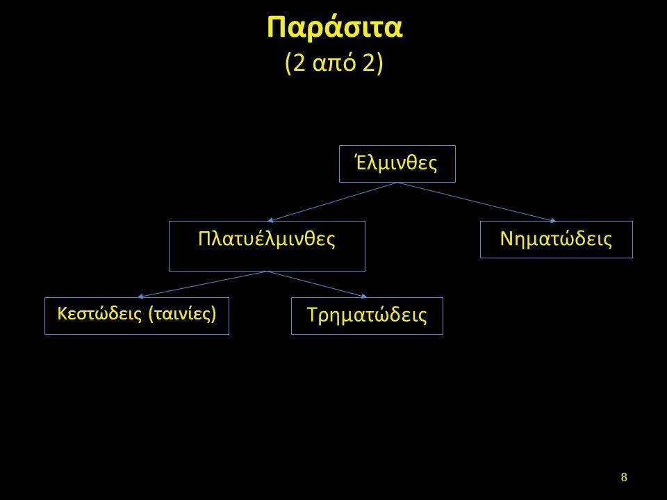 Πλατυέλμινθες Κεστώδεις –ταινίες (κεφαλή και προγλωττίδες) Echinococcus multilocularis , από Filip em διαθέσιμο ως κοινό κτήμαEchinococcus multilocularisFilip em Τρηματώδεις (ενιαίο σώμα) Fasciola hepatica , από Flukeman διαθέσιμο με άδεια CC BY-SA 3.0Fasciola hepaticaFlukemanCC BY-SA 3.0 9